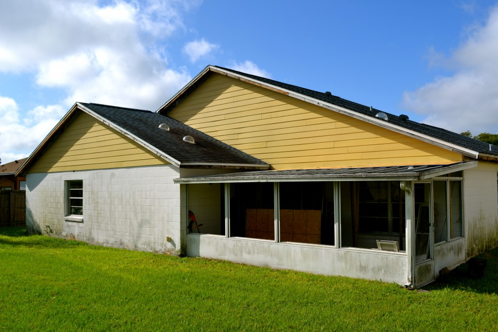 New siding installed on the rear of the house.
