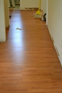 Same hallway with new laminate flooring.