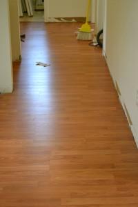 Same hallway with new laminate flooring.