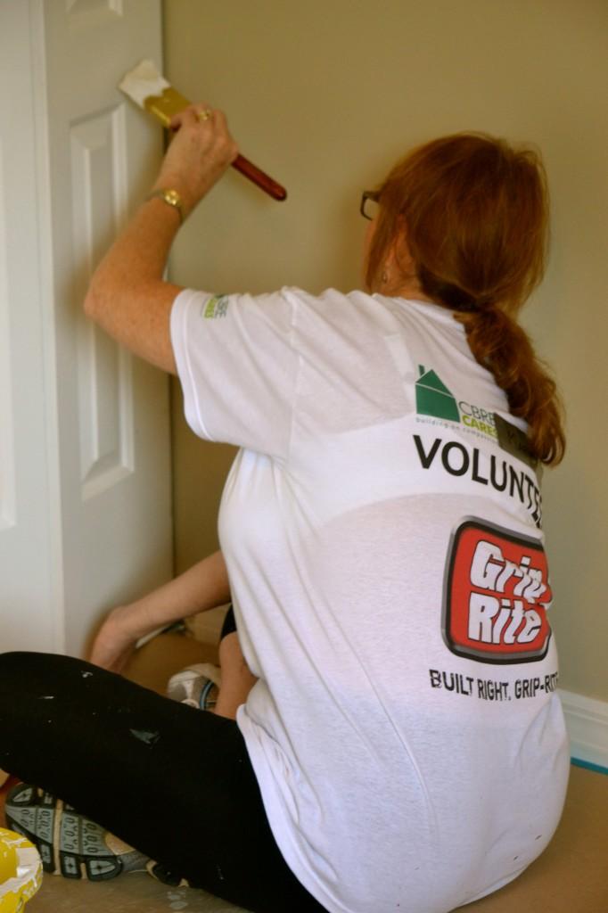 Painting the closet doors.