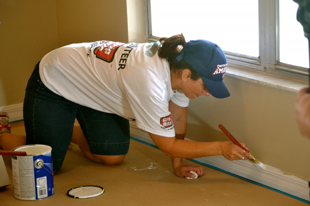 Baseboards being painting in Ms. Lipofsky's room.