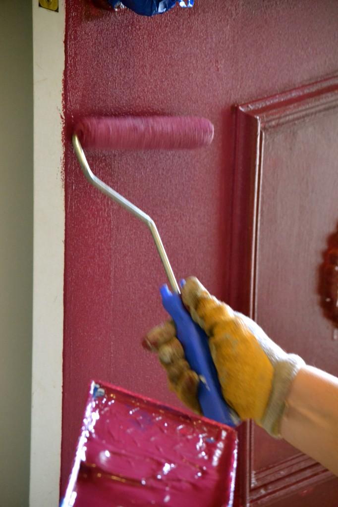 Painting the front door.